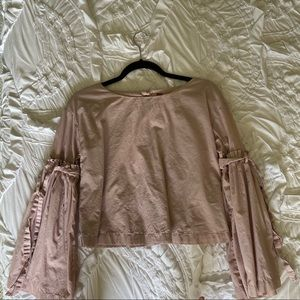 Free People Pink Bell Sleeve Shirt